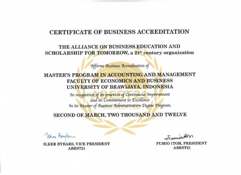 Certificate of Business Acreditation from  ABEST21_001